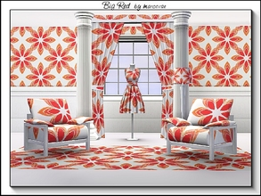 Sims 3 — Big Red_marcorse by marcorse — Geometric pattern - big red daisy shapes in red and yellow on white
