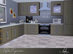 Sims 3 — Kitchen Expressions by Lulu265 — A clean lined kitchen with various cabinets and counters ,includes units such