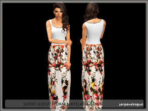 Sims 3 — short sleeve floral matelasse gown by Serpentrogue — female adult/ young adult outfit new mesh has small