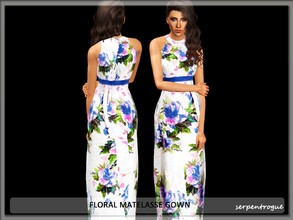 Sims 3 — floral matelasse gown by Serpentrogue — female adult/ young adult outfit new mesh has small thumbnail