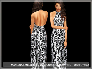 Sims 3 — Makeena Embellished Lace Gown, BlackWhite by Serpentrogue — female adult/ young adult outfit new mesh has small