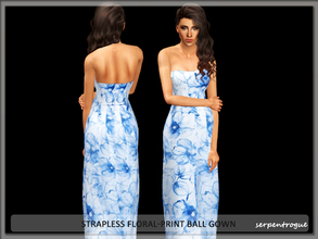 Sims 3 — Strapless Floral-Print Ball Gown by Serpentrogue — female adult/ young adult outfit new mesh has small thumbnail