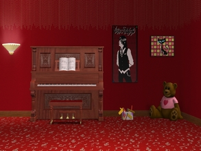 Sims 2 — Musical Notes-Red Carpet by allison731 — Red carpet with musical notes.Combined pattern with notes + Photoshop