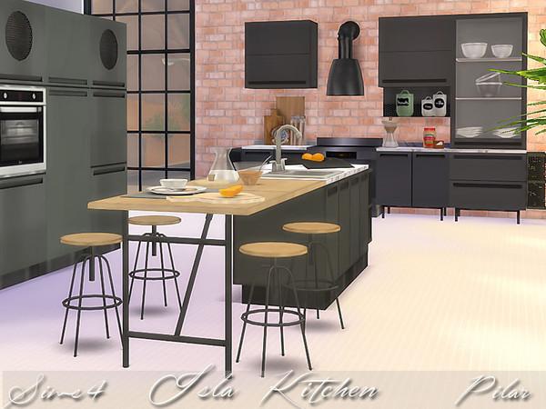 Pilar 39 s isla kitchen for Kitchen set sims 4