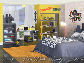 Sims 3 — SkyWalk Study by Pilar — Bedroom for youth, inspired by urban art