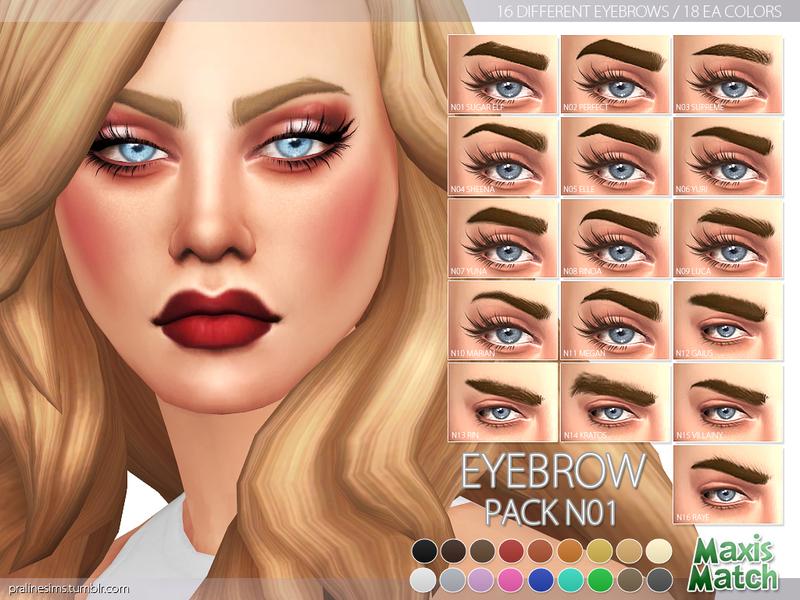 Pralinesims' Maxis Match Eyebrow Pack N01