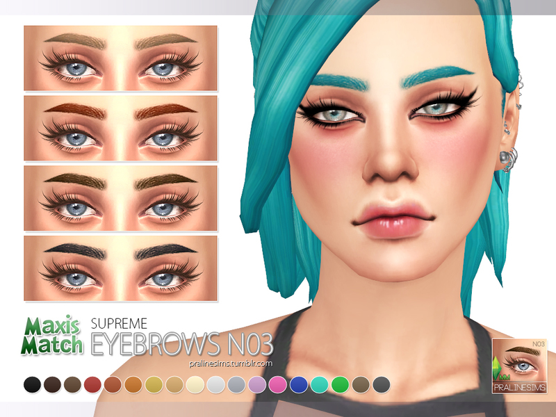 Pralinesims' Maxis Match Eyebrow Pack N01