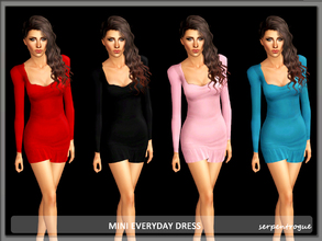 Sims 3 — Mini Everyday Dress by Serpentrogue — 4 variations Young adult/ adult female everyday wear Mesh by me has