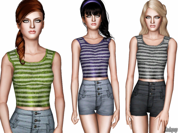 Striped Ribbed Tank Top by zodapop