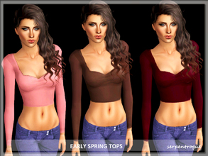 Sims 3 — Early Spring Tops by Serpentrogue — 4 variations Young adult/ adult female everyday wear Mesh by me has