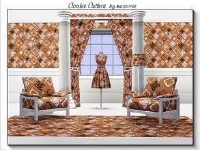 Sims 3 — Cookie Cutters_marcorse by marcorse — Geometric pattern: flower shaped cookie cutouts in brown