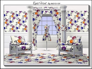 Sims 3 — Eyes Front_marcorse by marcorse — Geometric pattern: 6petal stylised flowers with eye motifs in brown,blue and