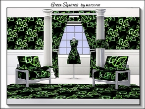 Sims 3 — Green Squares_marcorse by marcorse — Geometric pattern: futuristic green square shapes on black