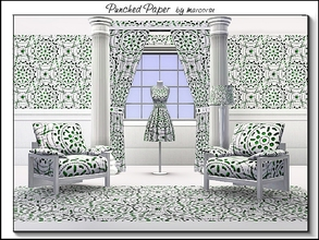 Sims 3 — Punched Paper_marcorse by marcorse — Geometric pattern: punched paper design in purple and green on white