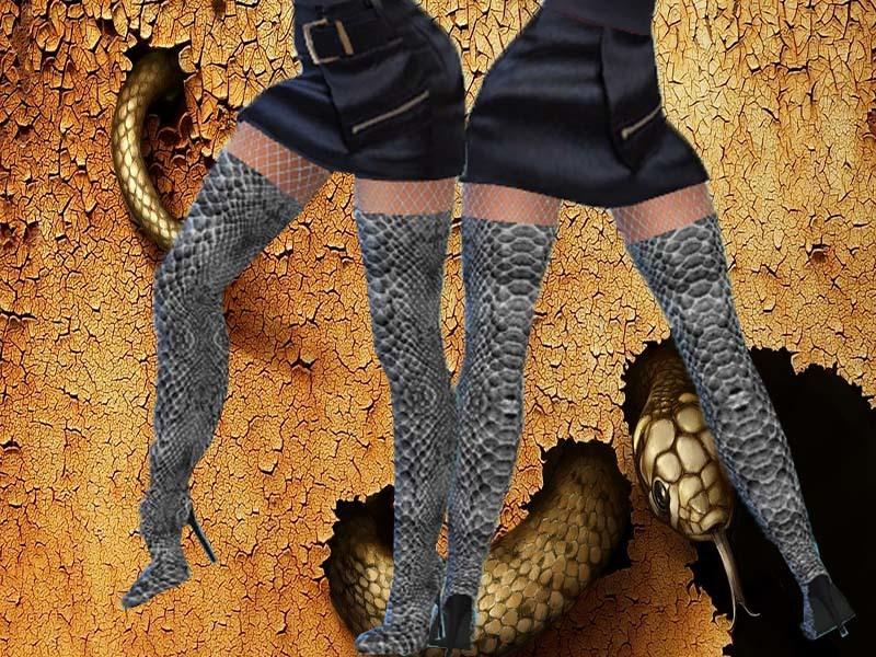 The Sims 4 Snake Thigh Tatoo: TrudieOpp's Snake Skin Boots-Need Mesh