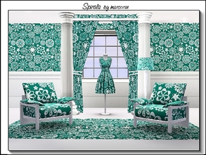 Sims 3 — Spirals_marcorse by marcorse — Geometric pattern: compass spiral elements in white on jade green