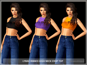 Sims 3 — Lynne Ribbed High Neck Crop Top by Serpentrogue — 3variations Young adult/ adult female everyday /athletic wear