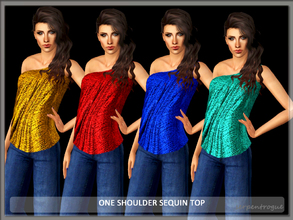 Sims 3 — One Shoulder Sequin Top by Serpentrogue — 4 variations Young adult/ adult female Everyday wear New mesh has