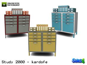 Sims 4 — kardofe_Study 2000_Archiver by kardofe — Filing cabinet with many drawers and decorations on top