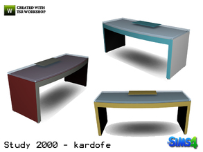 Sims 4 — kardofe_Study 2000_Desk by kardofe — Writing desk, modern design, with glass top, in three different textures