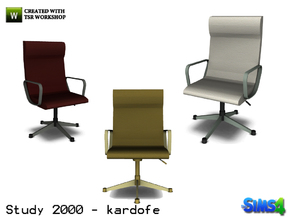 Sims 4 — kardofe_Study 2000_DeskChair by kardofe — Office chair ergonomically shaped, leather upholstery in three