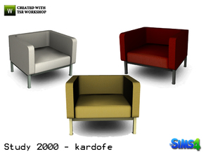 Sims 4 — kardofe_Study 2000_LivingChair by kardofe — Armchair upholstered in leather in three different textures