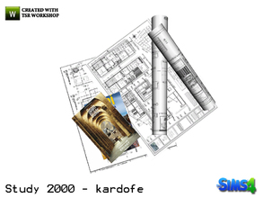 Sims 4 — kardofe_Study 2000_Paperwork by kardofe — Lots of drawings and books, decorative, to create nice mess