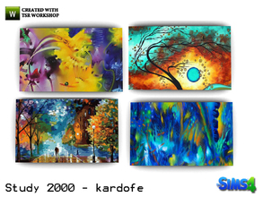 Sims 4 — kardofe_Study 2000_Pictures by kardofe — Four paintings unframed, abstract, very colorful