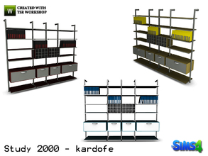 Sims 4 — kardofe_Study 2000_Shelving by kardofe — Large bookcase with drawers and cabinets and plenty of space to store