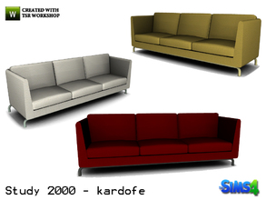 Sims 4 — kardofe_Study 2000_Sofa by kardofe — Sofa modern design, leather upholstery in three different colors