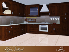 Sims 3 — Kitchen Traditional by Lulu265 — A traditional style kitchen in wood with laminated counter tops , includes