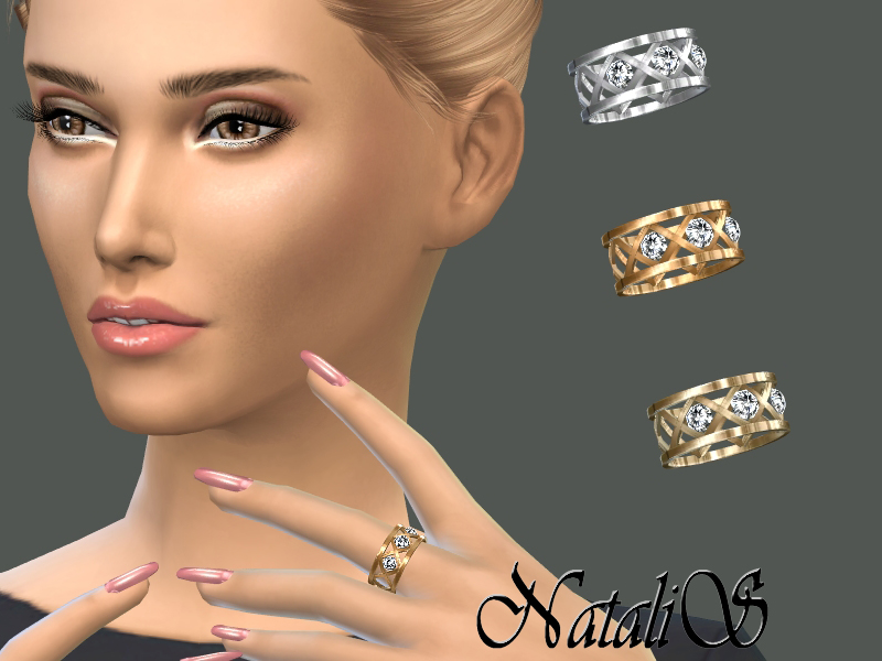 NataliS_Cage and crystals ring  for Sims 4