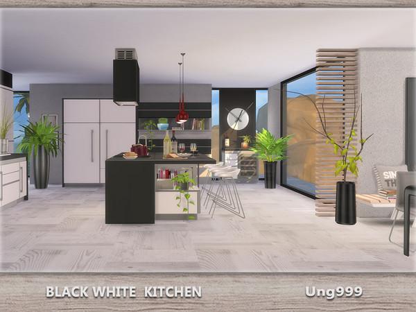 Ung999 39 s black white kitchen for Kitchen set sims 4