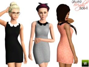 Sims 3 — Scalloped Collar Dress (TEEN) by onthebrightside-x2 — Scalloped Collar Dress for teens. 3 recolorable channels: