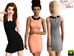 Sims 3 — Scalloped Collar Dress (YA-A) by onthebrightside-x2 — Scalloped Collar Dress for adults. 3 recolorable channels: