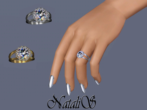Sims 3 — NataliS TS3 Halo diamond  ring FT-FE by Natalis — Halo diamond engagement ring for left hand. An intricate halo
