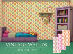 Sims 4 — Vintage Wall 05 by sharon337 — Vintage Wallpaper in 3 Colors in all 3 Wall Heights. Created for The Sims 4 by