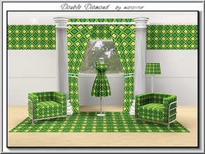 Sims 3 — Double Diamond_marcorse by marcorse — Geometric pattern: diamond inside diamond shapes in yellow and green.