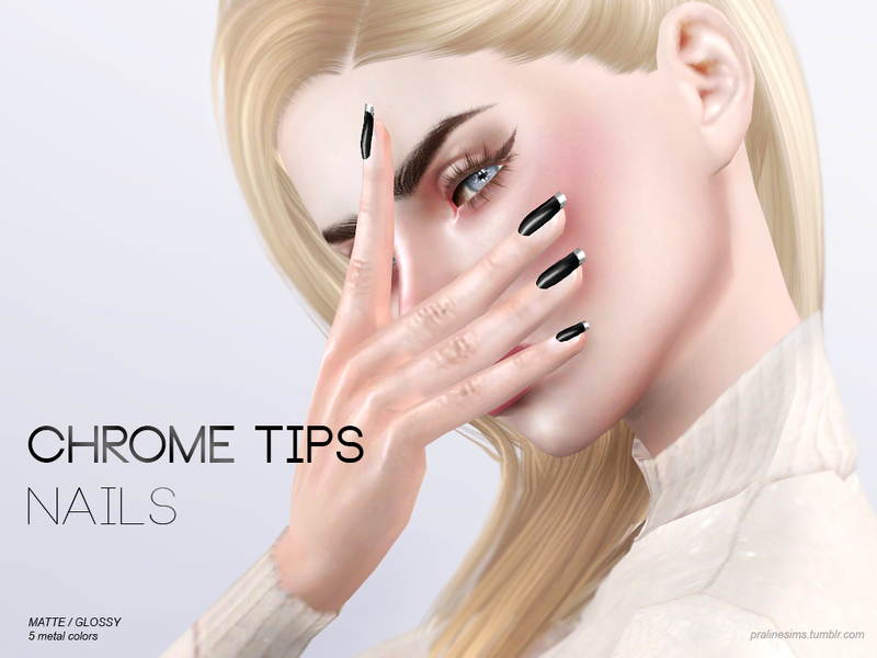 Pralinesims Chrome Tips Nails N15