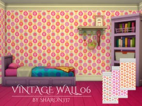 Sims 4 — Vintage Wall 06 by sharon337 — Vintage Wallpaper in 3 Colors in all 3 Wall Heights. Created for The Sims 4 by