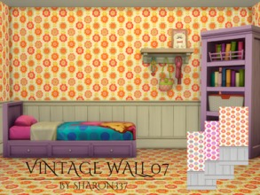 Sims 4 — Vintage Wall 07 by sharon337 — Vintage Wallpaper in 3 Colors in all 3 Wall Heights. Created for The Sims 4 by
