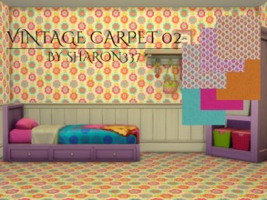 Sims 4 — Vintage Carpet 02 by sharon337 — Vintage Carpet in 3 pattern and 3 plain colors, created for Sims 4, by