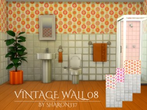 Sims 4 — Vintage Wall 08 by sharon337 — Vintage Wallpaper in 3 Colors in all 3 Wall Heights. Created for The Sims 4 by