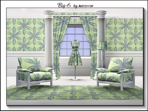 Sims 3 — Big 6_marcorse by marcorse — Geometric pattern: big 6-petal daisy shapes in blue on yellow/green