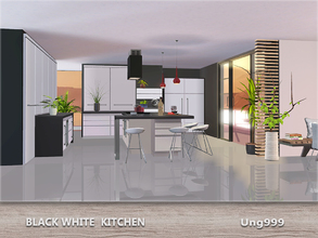 Sims 3 — Black White Kitchen by ung999 — A fresh and modern kitchen set for your sims. 13 objects in this set: Counter