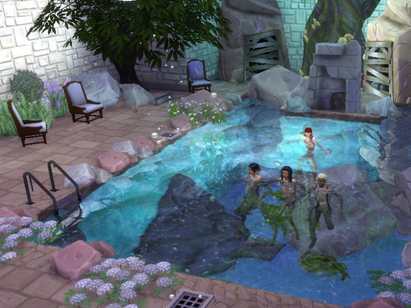 Lareinedubois 39 the grotto park for Pool design sims 3