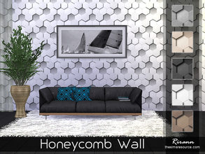 Sims 4 — Honeycomb Wall by Rirann — Honeycomb Wall in 5 color variations. Works for all 3 wall sizes. 5 walls in one