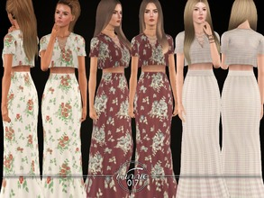 Sims 3 — The Lauren Coord by winnie017 — High waisted maxi skirt & a matching crop top with lace detail
