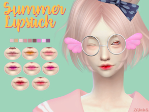 Sims 4 — Yume - Summer Lipstick by Zauma — Hello! New lisptick for females avaliable on 9 colors with CAS thumbnail. Hope