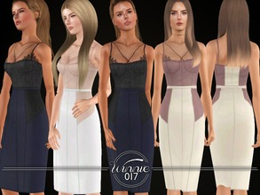 Sims 3 — BodyCon Set by winnie017 — Bustier top & pencil skirt recolorable custom mesh all LOD's